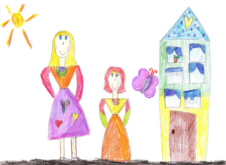 Childs drawing a happy family for a walk outdoors