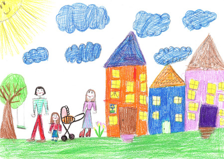 Childs drawing happy family with a stroller walk in the yard