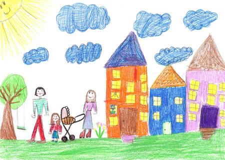 Kinderzeichnung glückliche Familie mit einem Kinderwagenspaziergang im Hof
