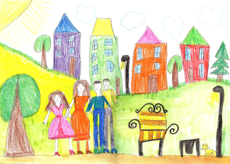Childs drawing happy family and pets walk outdoors together Stockfoto