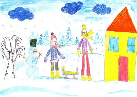 Vacation, holiday, New year, Christmas. Children playing, skiing and sledding. Make a snowman. Drawing child. Stockfoto