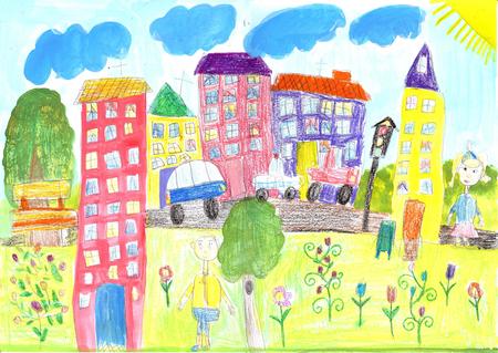 Kinder zeichnen das Leben der Menschen in der Stadt, beim Bauen, im Auto Standard-Bild