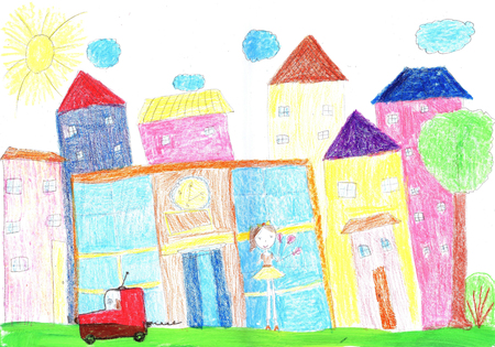 Childs drawing the lives of people in the city,  building, car