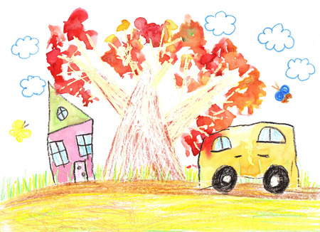 Childrens drawing of the car and country house