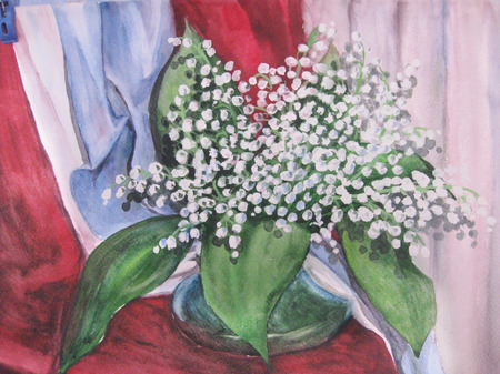 Watercolor Drawing. Vase with a bouquet of flowers lilies of the valley.Still life