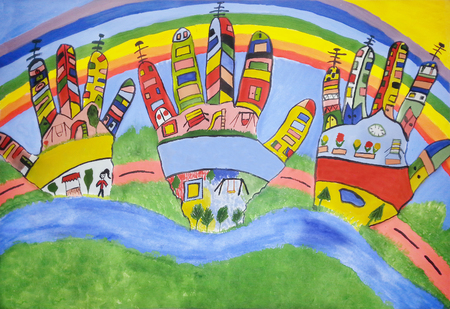 Colorful watercolor children handprints around the city on the blue background Stockfoto