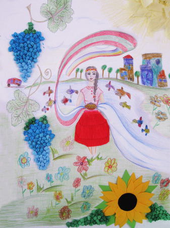 Drawing of a girl and Village houses. Fields, lake with fish. Rural life Stockfoto