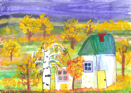 Child drawing of a country house. Watercolor painting golden autumn Stockfoto
