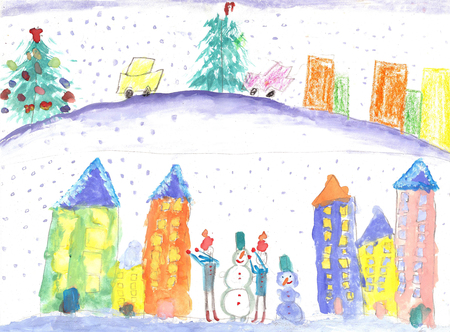 Vacation, holiday, New year, Christmas. Children playing and making a snowman. Watercolor drawing