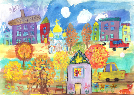 Childrens drawing of the buildings, cars, temple. Watercolor painting golden autumn
