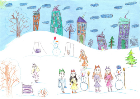 Watercolor Children Drawing. Kids winter sleigh ride