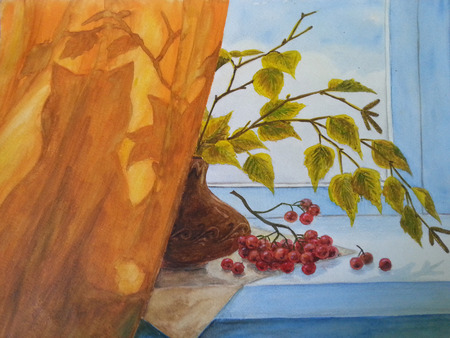Watercolor Drawing. Vase with a cranberry. Still life Stockfoto