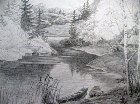 Landscape with river and boat - isolated black white drawing