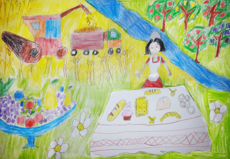 Kids drawing grain harvesting combine. Happy woman enjoying picnic on the countryside in the field