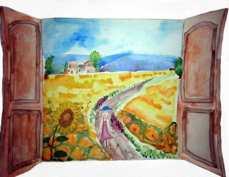 Sommerlandschaft, Bäume und Landschaft – Malerei. Blick aus dem Fenster auf eine wundervolle Landschaftsnatur. Kinderzeichnung Standard-Bild