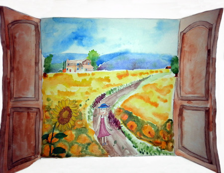 Summer landscape, trees and countryside – painting. View from window at a wonderful landscape nature.Kids drawing Stockfoto