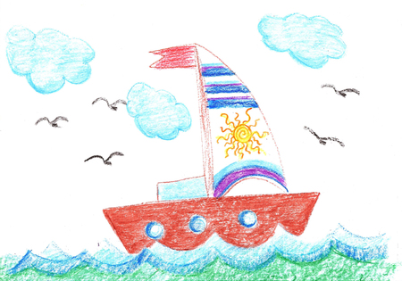 Drawing ship.Sailing sailboat on the waves in the sea