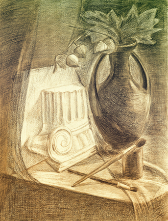 Sketch pencil drawing still life.Vase, antique column, paint and brush