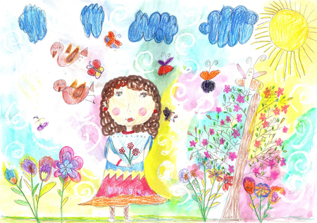 Childrens drawing of a happy girl on a walk outdoors.Nature, Flowers, Butterflies
