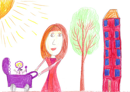 Childs drawing happy mother with baby stroller Stockfoto