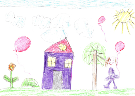 Childs drawing of a happy family on a walk outdoors. Nature, Flowers, Butterflies