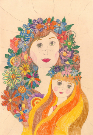 Drawing of a happy family on a walk outdoors.Girl with a wreath of flowers on her head