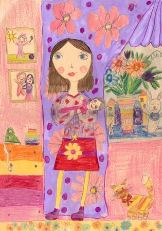 Kinderzeichnung einer glücklichen jungen Familie im Haus Standard-Bild