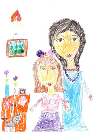 Children drawing of a happy family inside house. Housewife doing household chores like cleaning and cooking. Stockfoto