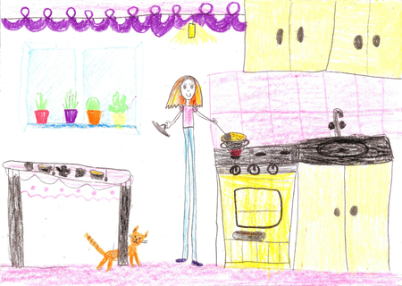 Children drawing.Housewife doing household chores like cleaning, ironing, cooking