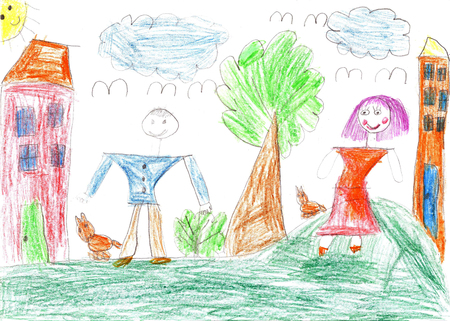 Childs drawing happy family walk outdoors together