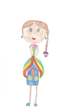Childs drawing of a happy girl