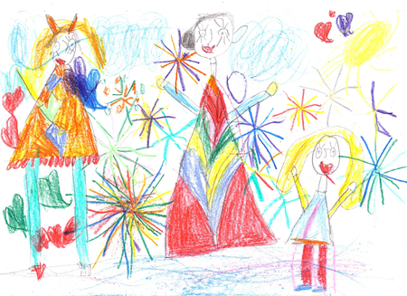 Childrens drawing a happy family with children watching fireworks