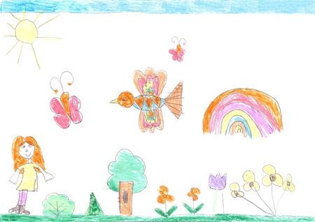 Childrens drawing of a happy girl on a walk outdoors. Nature, Flowers, Butterflies