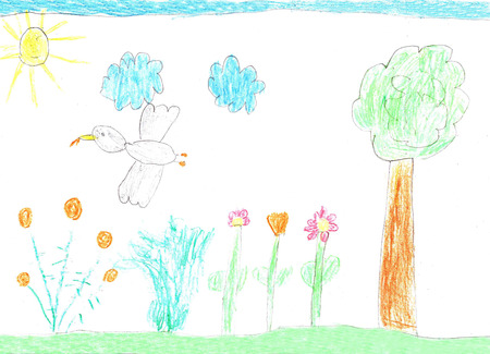 Childrens drawing nature, birds and flowers