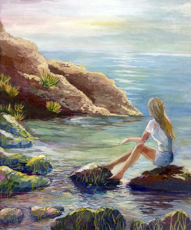 Illustration drawing lonely girl looks into the distance of the sea and dreams Stockfoto