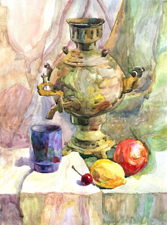 Watercolor texture painting, still life painting Russian teapot. Still life hand drawn food illustration with a samovar, lemons and apples Stockfoto