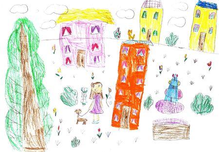 Kinderzeichnung eines glücklichen Mädchens auf einem Spaziergang im Freien. Mädchen, das mit ihren Hunden spazieren geht Standard-Bild