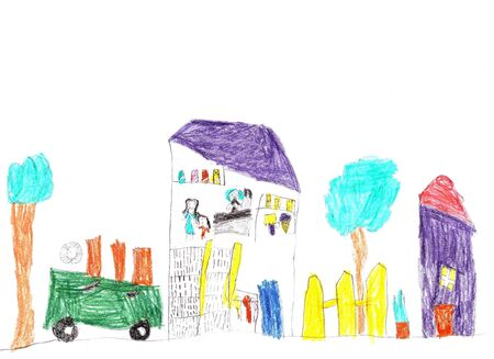 Drawing of the buildings and cars. Happy family on a walk. Lives of people in the city