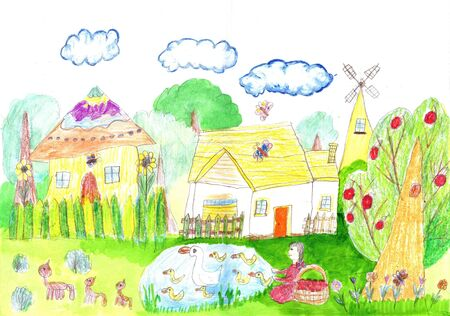 Hand drawn rural landscape. Farm, agriculture scene. Foto de archivo - 130834187