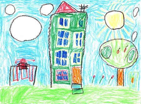 Child drawing of a family house