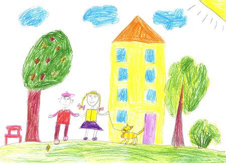 Kinderzeichnung einer glücklichen Familie bei einem Spaziergang im Freien Standard-Bild