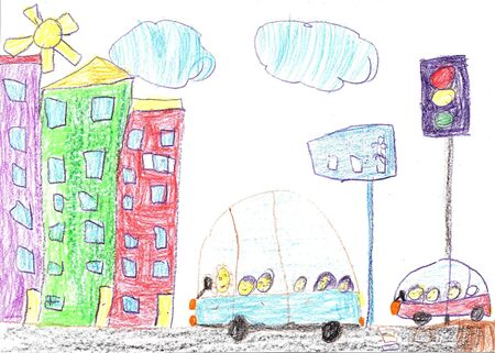 Child drawing of the buildings and cars. City road drawing