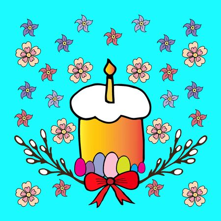 Happy easter vector illustration.Easter cake and colored eggs.Russian and Ukrainian Traditional Kulich Vectores
