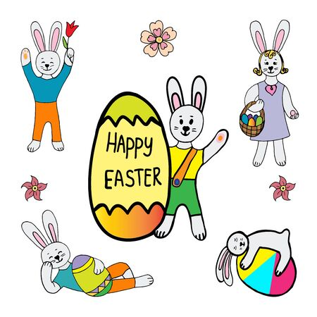 Happy easter vector illustration.Collection of easter rabbit in different poses with an egg in childish style