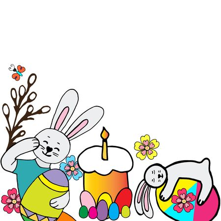 Happy easter vector illustration.Collection of easter rabbit in different poses with an egg