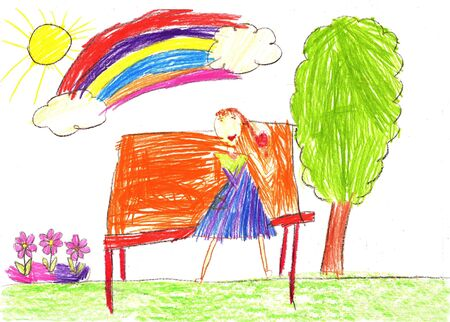 Drawing of a happy girl on a walk outdoors. Young woman with sitting on bench in park. Pencil art in childish style