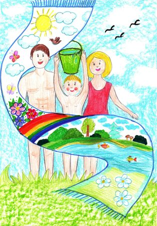 Child drawing of a happy Sports Family with kids, having fun outdoor. Active healthy lifestyle concept. Pencil art in childish style.