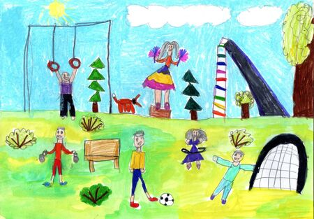 Child drawing of a happy Sports Family with kids,having fun outdoor.Active healthy lifestyle concept.Pencil art in childish style.