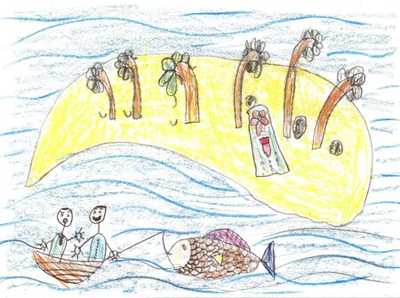Child drawing ship in sea.Pencil art in childish style