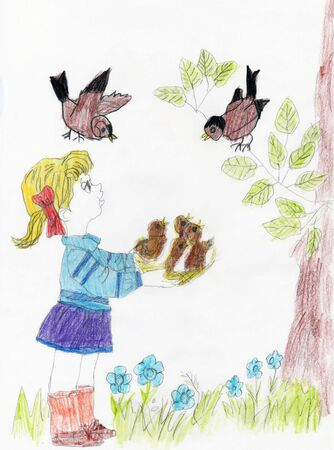 Cute girl holding a baby birds. Little girl care and loves an animal. Pencil art in childish style